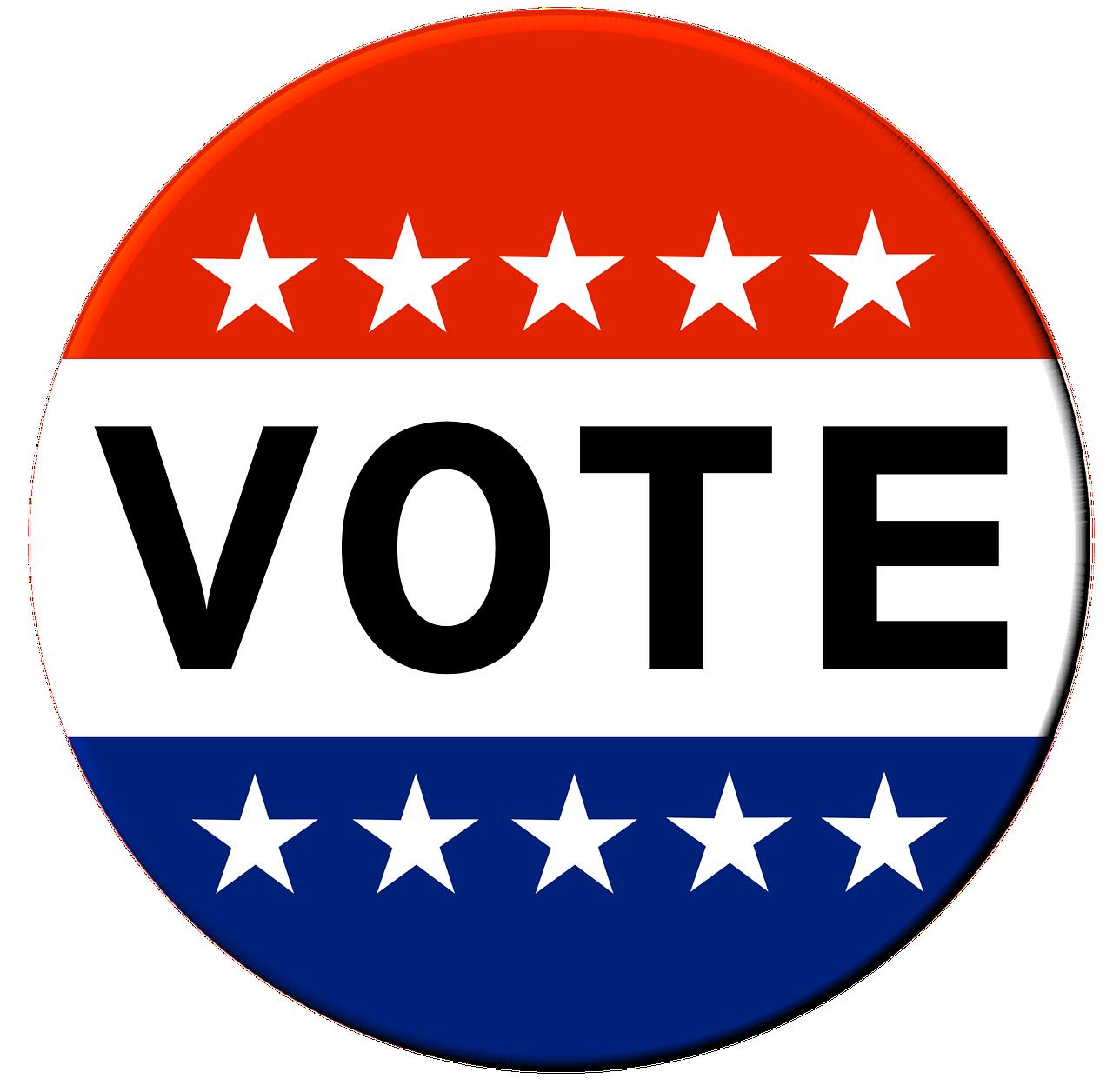 vote, button, election